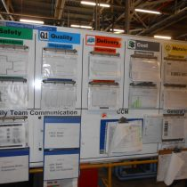 A board showing daily notices for factory employees, including Health and Safety sheets and Risk Assessment binders 2013.
